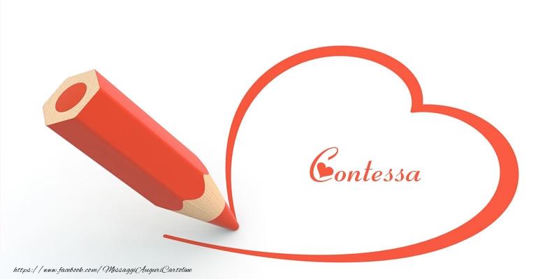 Cartoline d'amore - Cuore per Contessa!