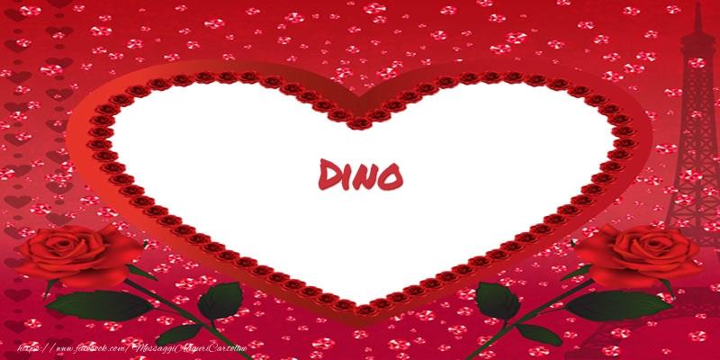 Cartoline d'amore - Nome nel cuore Dino