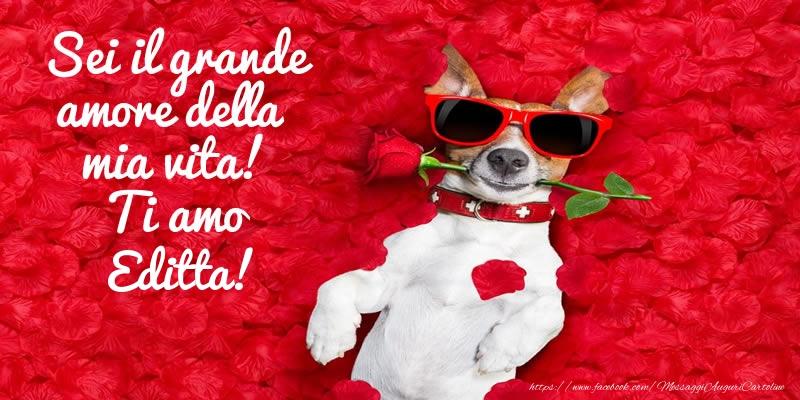 Cartoline d'amore - Sei il grande amore della mia vita! Ti amo Editta!