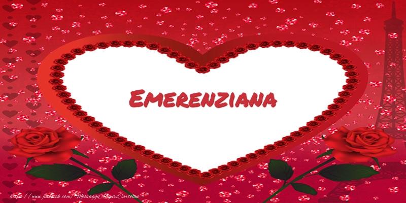 Cartoline d'amore - Nome nel cuore Emerenziana
