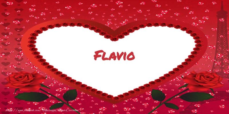 Cartoline d'amore - Nome nel cuore Flavio