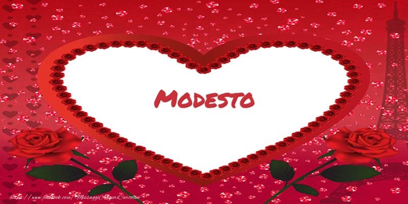 Cartoline d'amore - Nome nel cuore Modesto