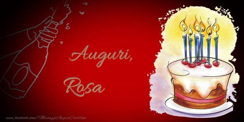 Cartoline di auguri - Auguri, Rosa