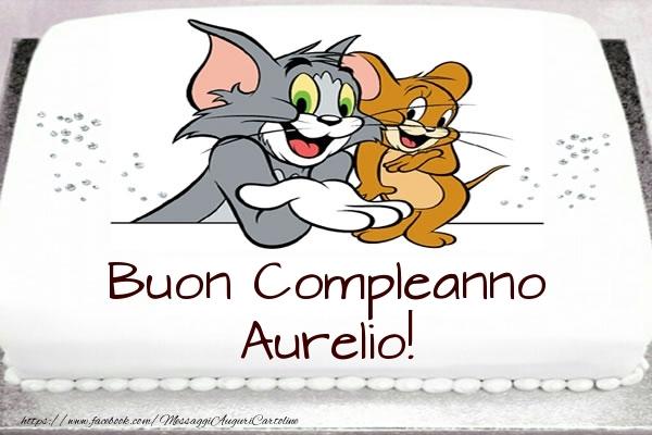 Cartoline per bambini - Torta Tom e Jerry: Buon Compleanno Aurelio!