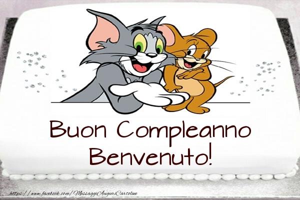 Cartoline per bambini - Torta Tom e Jerry: Buon Compleanno Benvenuto!