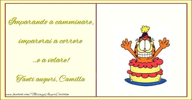 Cartoline per bambini - Imparando a camminare, imparerai a correre …e a volare! Camilla