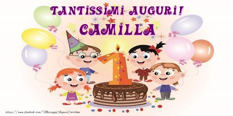 Cartoline per bambini - Tantissimi Auguri! Camilla