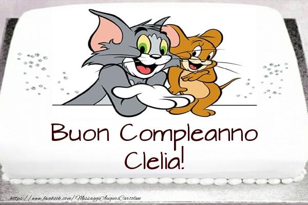 Cartoline per bambini - Torta Tom e Jerry: Buon Compleanno Clelia!