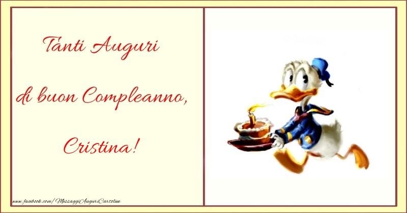 Cartoline per bambini - Tanti Auguri di buon Compleanno, Cristina