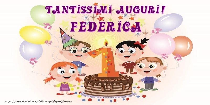 Molto Tantissimi Auguri! Federica - Cartoline per bambini per Federica  RO49