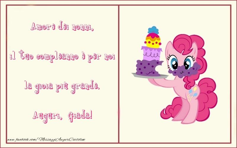 Cartoline per bambini - Amore dei nonni, il tuo compleanno è per noi la gioia più grande. Giada
