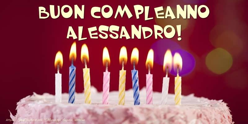 Cartoline di compleanno - Torta - Buon compleanno, Alessandro!