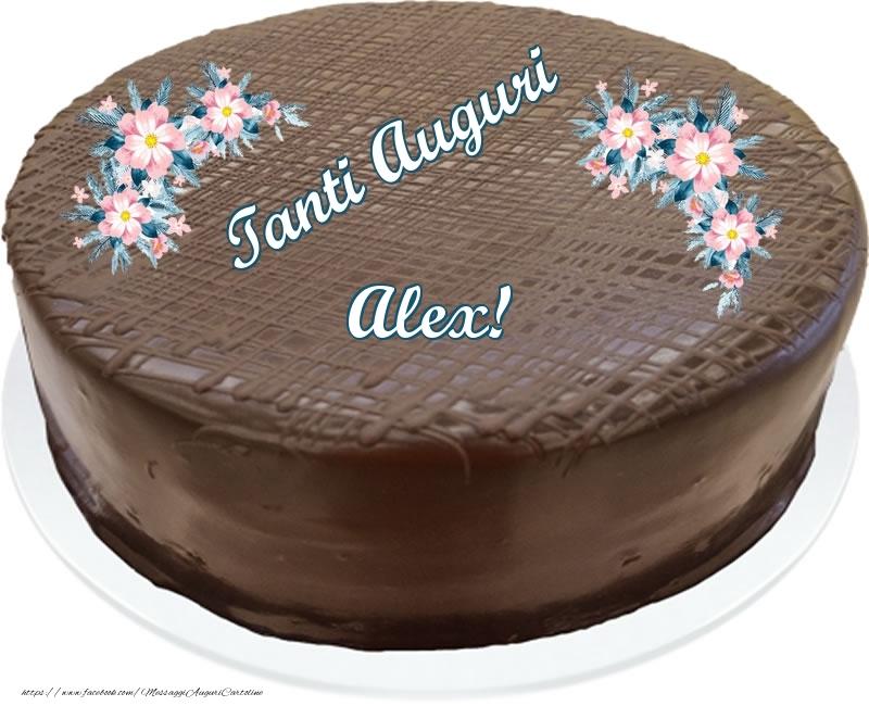 Cartoline di compleanno - Tanti Auguri Alex! - Torta al cioccolato