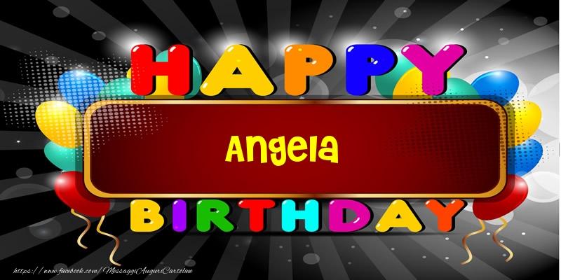 Super Happy Birthday Angela - Cartoline di compleanno per Angela  MZ56