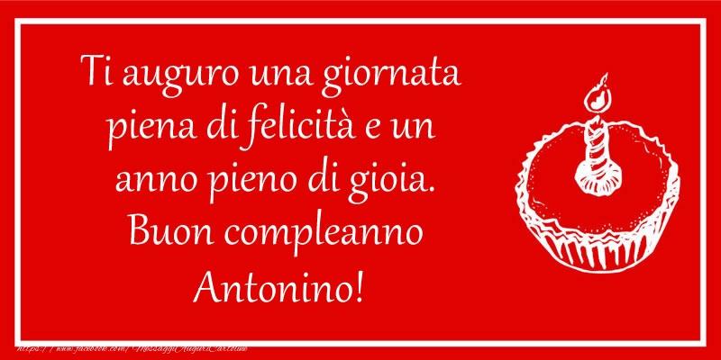 Cartoline di compleanno - Ti auguro una giornata  piena di felicità e un  anno pieno di gioia. Buon compleanno Antonino!