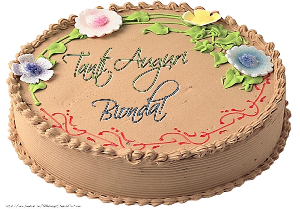 Cartoline di compleanno - Bionda - Tanti Auguri! - Torta