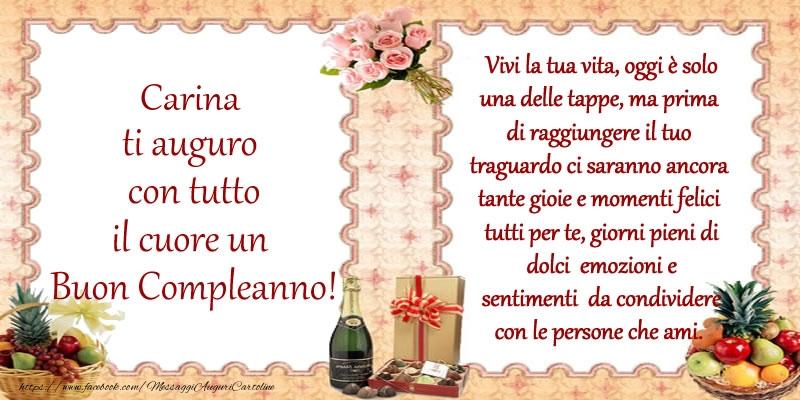 Cartoline di compleanno - Carina ti auguro con tutto il cuore un Buon Compleanno!