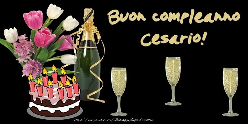 Cartoline di compleanno - Torta e Fiori: Buon Compleanno Cesario!