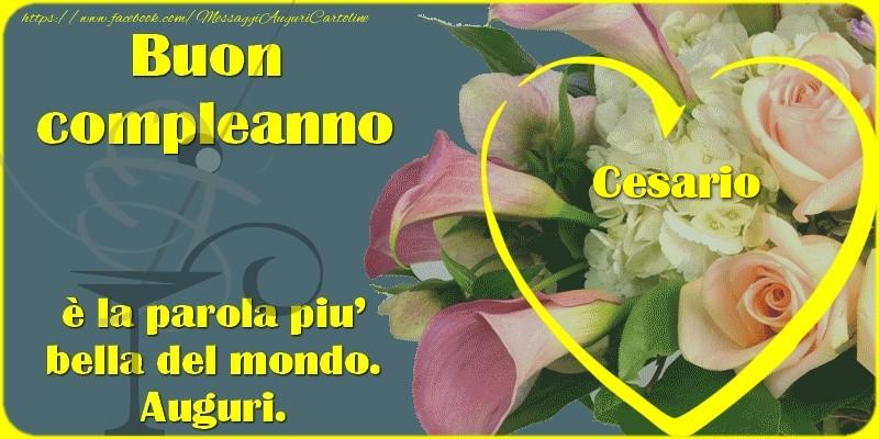 Cartoline di compleanno - Buon compleanno, Cesario,  è la parola piu' bella del mondo. Auguri.