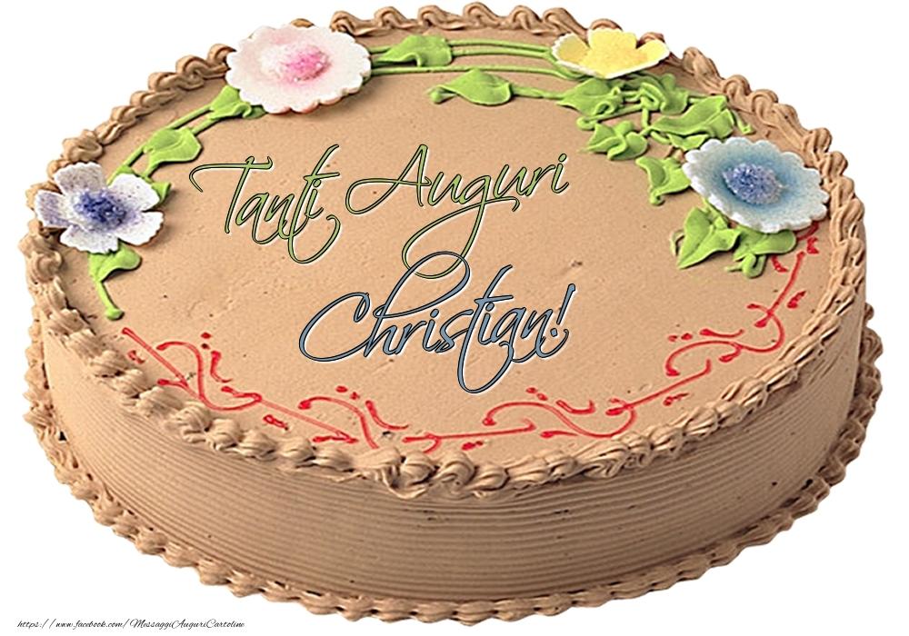 Cartoline di compleanno - Christian - Tanti Auguri! - Torta