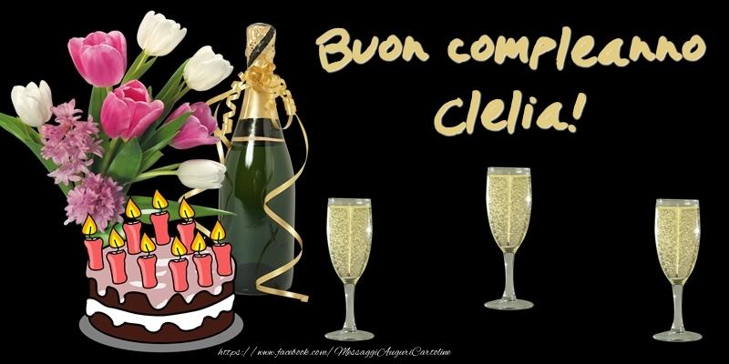 Cartoline di compleanno - Torta e Fiori: Buon Compleanno Clelia!