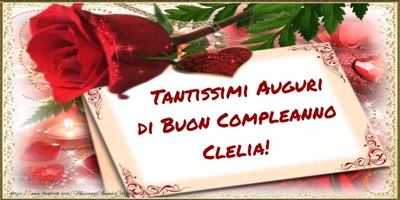 Cartoline di compleanno - Tantissimi Auguri di Buon Compleanno Clelia!