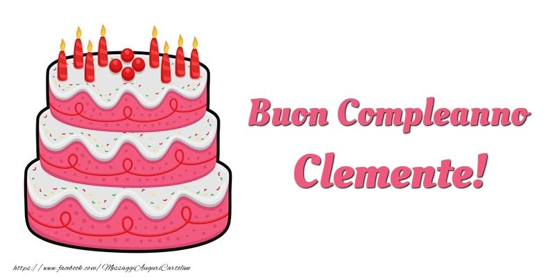 Cartoline di compleanno - Torta Buon Compleanno Clemente