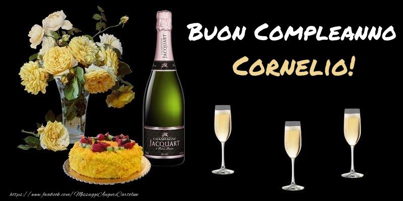 Cartoline di compleanno - Fiori e torta per te Cornelio! Buon Compleanno!