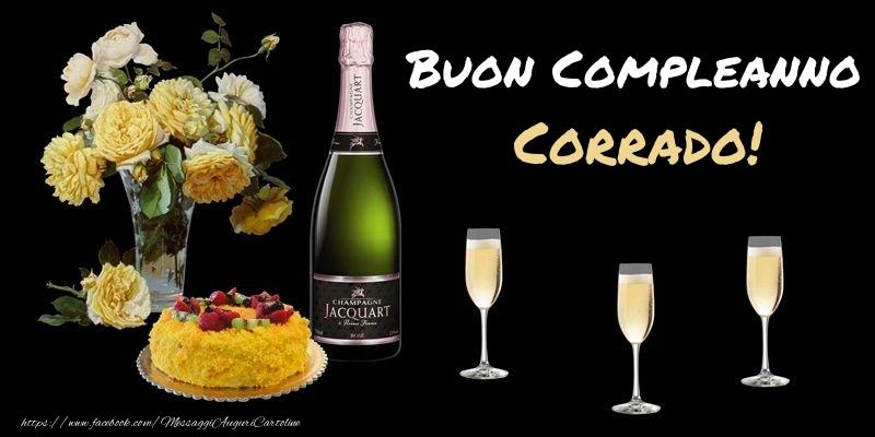 Cartoline di compleanno - Fiori e torta per te Corrado! Buon Compleanno!