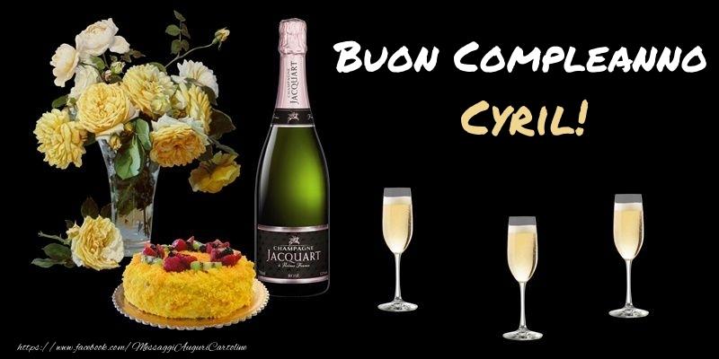 Cartoline di compleanno - Fiori e torta per te Cyril! Buon Compleanno!