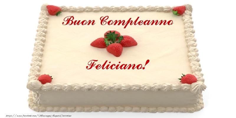 Cartoline di compleanno - Torta con fragole - Buon Compleanno Feliciano!