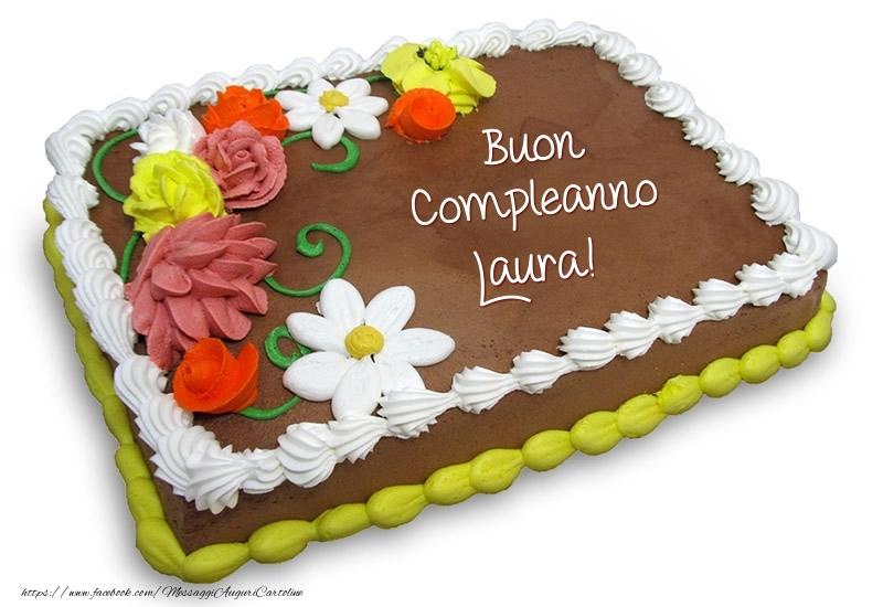 Torta Compleanno Laura.Torta Al Cioccolato Buon Compleanno Laura Cartoline Di
