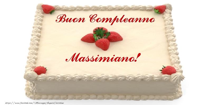 Cartoline di compleanno - Torta con fragole - Buon Compleanno Massimiano!