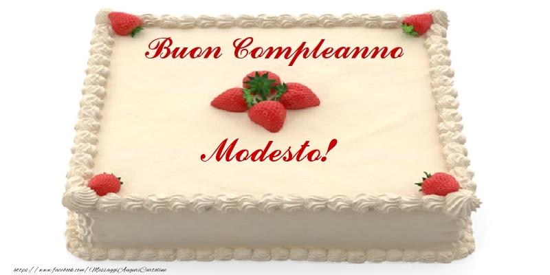 Cartoline di compleanno - Torta con fragole - Buon Compleanno Modesto!