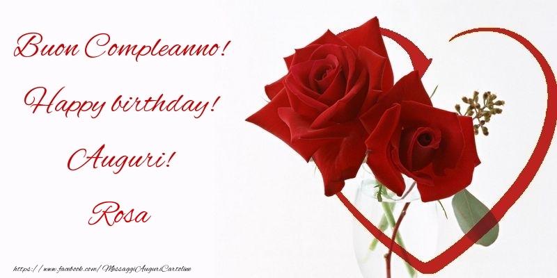 Cartoline di compleanno - Buon Compleanno! Happy birthday! Auguri! Rosa