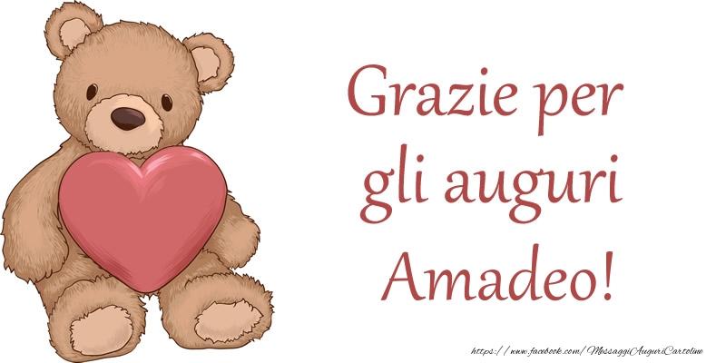 Cartoline di grazie - Grazie per gli auguri Amadeo!