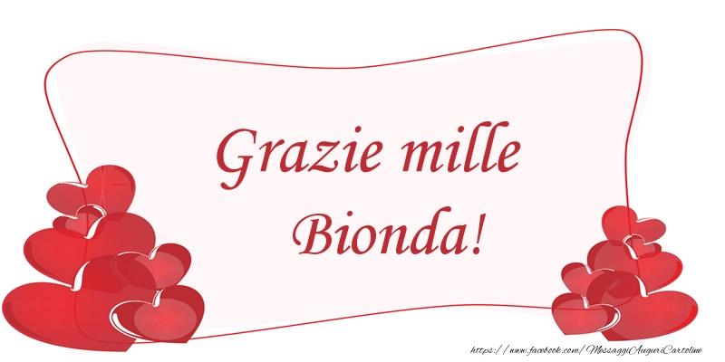 Cartoline di grazie - Grazie mille Bionda!