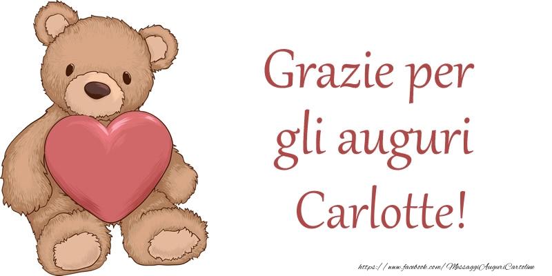 Cartoline di grazie - Grazie per gli auguri Carlotte!