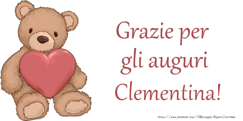 Cartoline di grazie - Grazie per gli auguri Clementina!