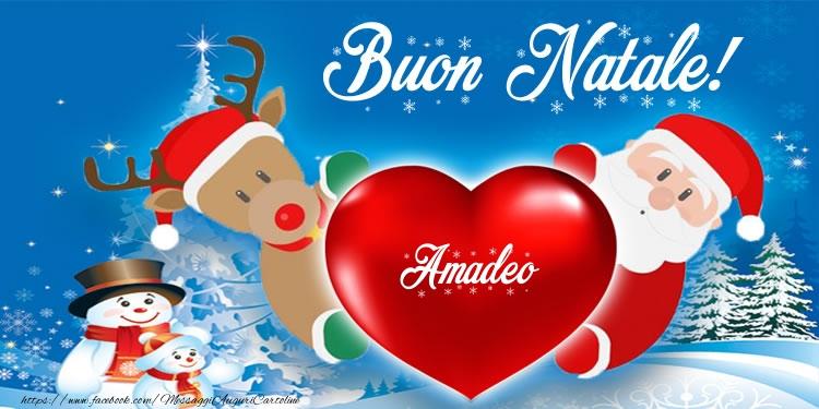 Cartoline di Natale - Testo nel cuore! Buon Natale Amadeo!