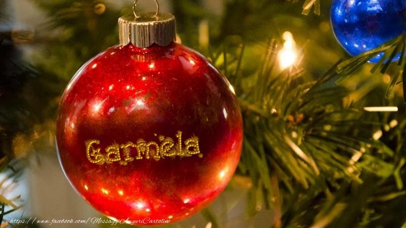 Cartoline di Natale - Il tuo nome sul globo di Natale Carmela