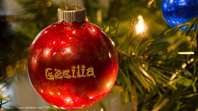 Cartoline di Natale - Il tuo nome sul globo di Natale Cecilia