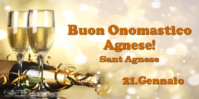 Cartoline di onomastico - 21.Gennaio Sant Agnese Buon Onomastico Agnese!