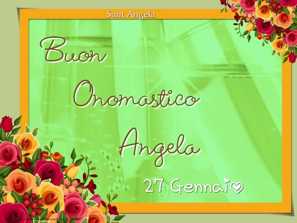 Cartoline di onomastico - Sant Angela Buon Onomastico, Angela! 27 Gennaio