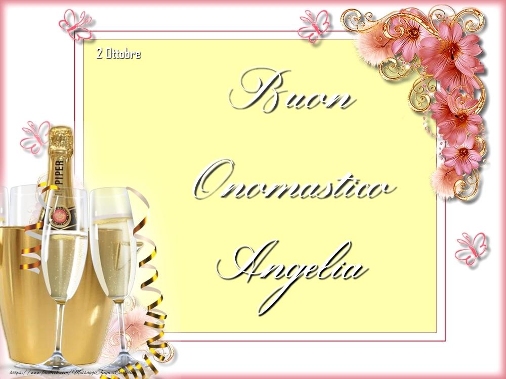 Cartoline di onomastico - Buon Onomastico, Angelia! 2 Ottobre