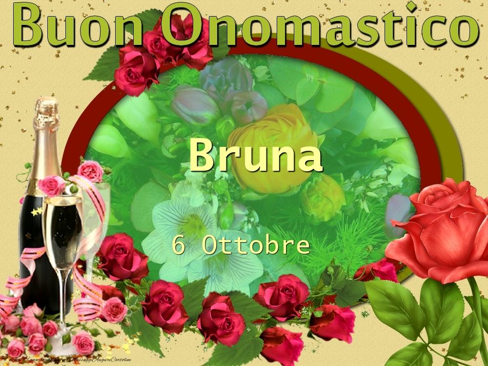 Cartoline di onomastico - Buon Onomastico, Bruna! 6 Ottobre