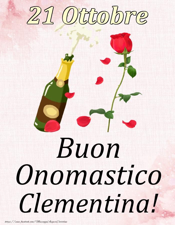 Cartoline di onomastico - Buon Onomastico Clementina! - 21 Ottobre
