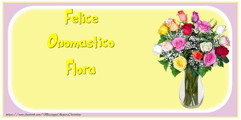 Cartoline di onomastico - Felice Onomastico Flora