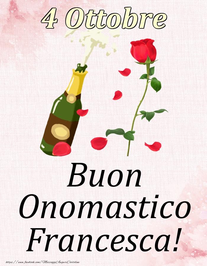 Cartoline di onomastico - Buon Onomastico Francesca! - 4 Ottobre