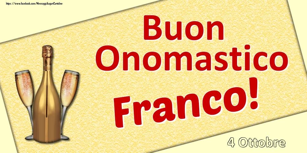 Cartoline di onomastico - Buon Onomastico Franco! - 4 Ottobre
